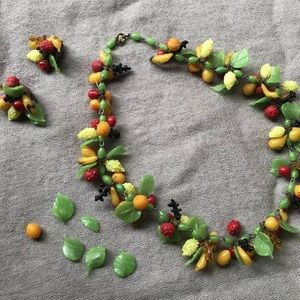 Miriam Haskell Glass Fruit Necklace + Earrings